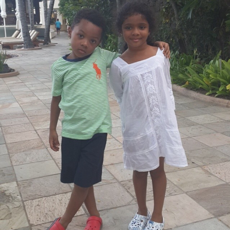 MY BABE: Peter Okoye's Little Kid Already Has A Girlfriend! (PHOTO